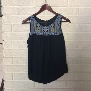Navy printed sleeveless top